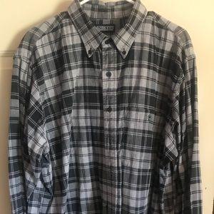 Men's Flannel Lands End grey plaid shirt XL button